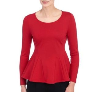 CARMEN MARC VALVO Pleated Ponte Knit Peplum Top L